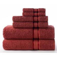 rust red bath towels