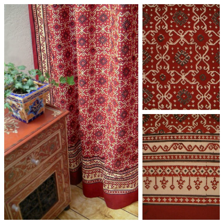 red turkish shower curtain