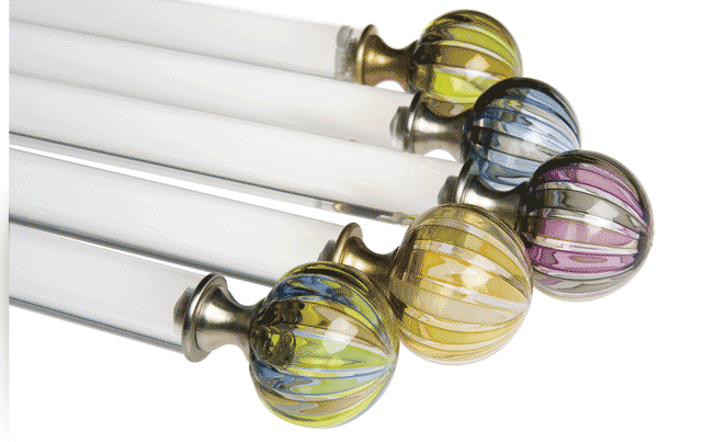 blue and yellow curtain finials