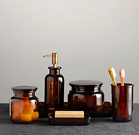 brown glass bath accessories
