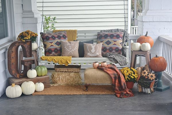 boho fall porch