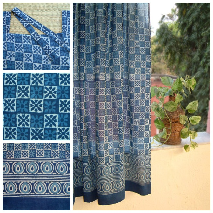 blue batik curtains