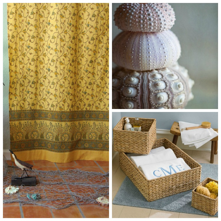 A cottony yellow and blue shower curtain transitions summer to fall.