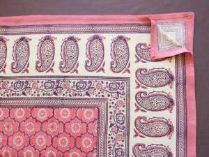 Luxury Pink Floral Indian Sari Print Queen Bedspread