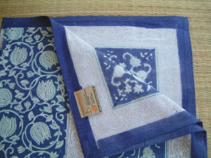 Blue Asian Style Oriental Floral Queen Bedspread