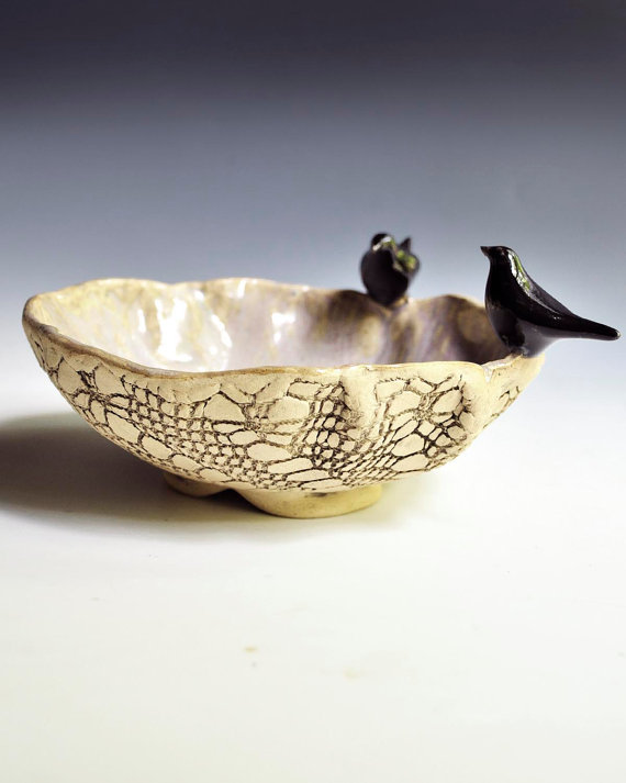 black and white bird bowl