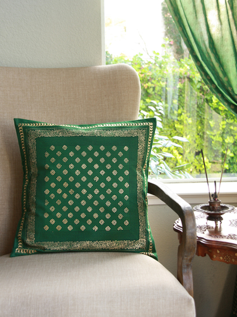 Empress's Emeralds throw pillow cover