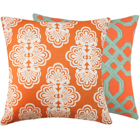 Orange and turquoise pillows, Etsy