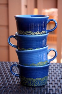 Cobalt Blue Mugs with gold lace, Etsy