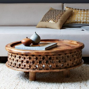 Carved wood coffee table, West Elm