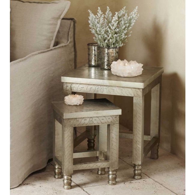 Etched silver nesting tables, Viva Terra