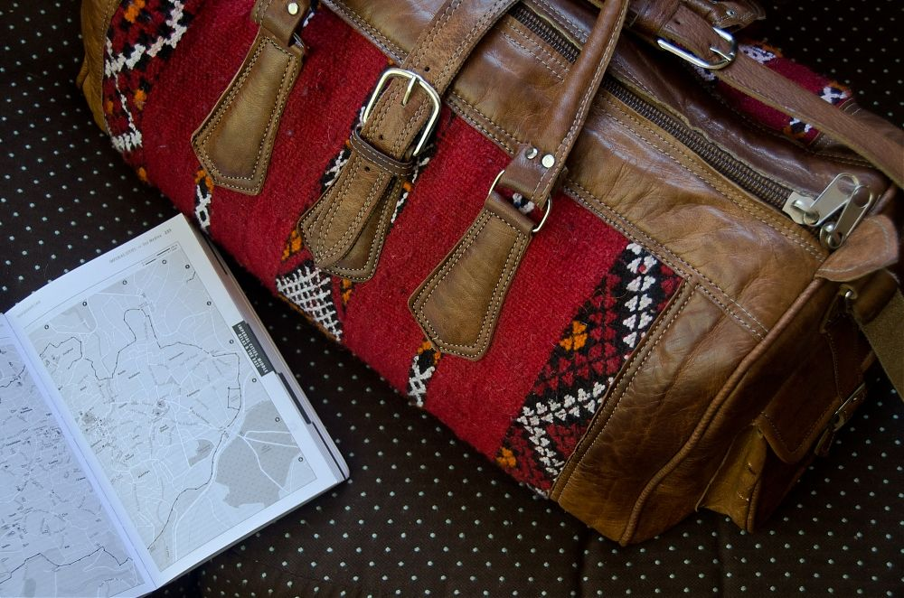 Leather and kilim weekender bag, From Morocco with Love