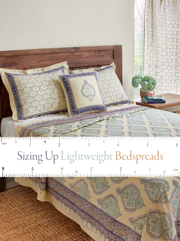 bed with banner that says sizing up lightweight bedspreads