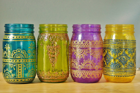 Moroccan style Mason jars, LIT Decor, Etsy