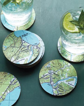 DIY map coasters, Me and Mine magazine