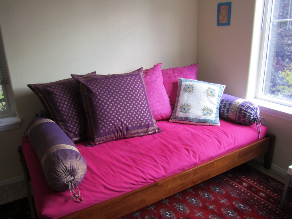 Indian style daybed with Mystic Amethyst euro shams and Dance O Peacock accent pillow