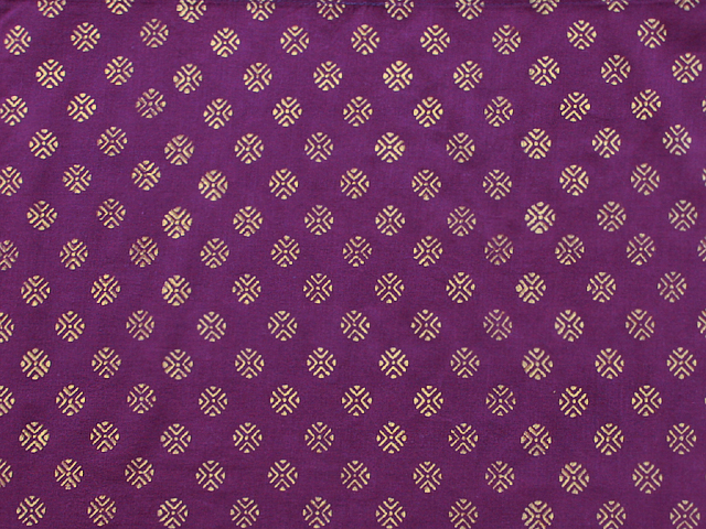 Purple and Gold Fabric Swatch with Medallions