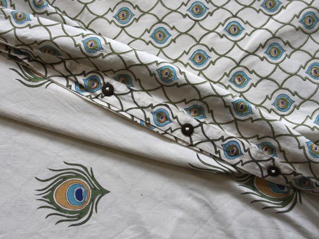 Dance O Peacock duvet, reverse side
