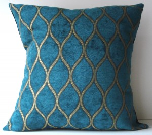 Peacock blue and gold pillow, Etsy