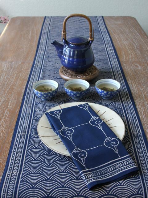 Rustic Navy Blue Ocean Oriental Asian Napkins
