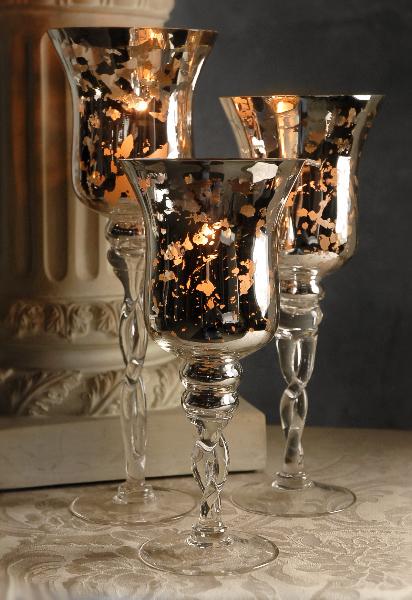 87260274026 mercury glass candle holders
