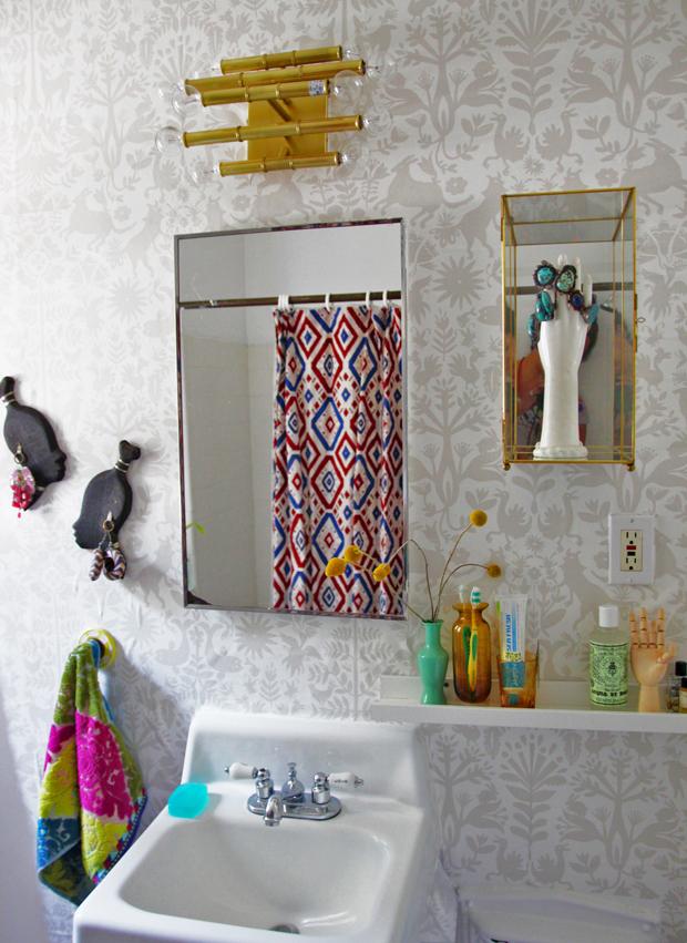 Navajo Rhythms shower curtain in Justina's bathroom