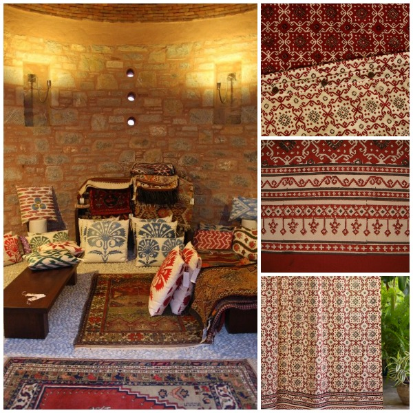 Left: Inspiration pic via; Right: Top to bottom Kilim Noir duvet border and reverse detail; curtains