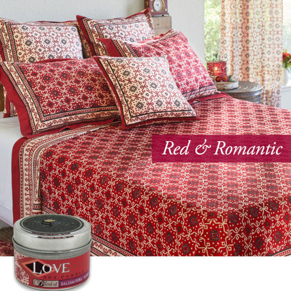 valentines day ideas in a romantic red kilim inspired bedroom duvet cover