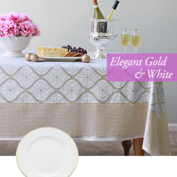 white and gold tablecloth, valentines day ideas