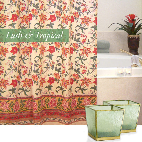 valentines day bath with our tropical floral shower curtain