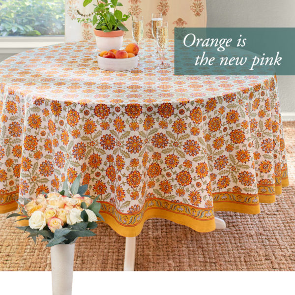 valentines day ideas with our mediterranean orange floral table cloth