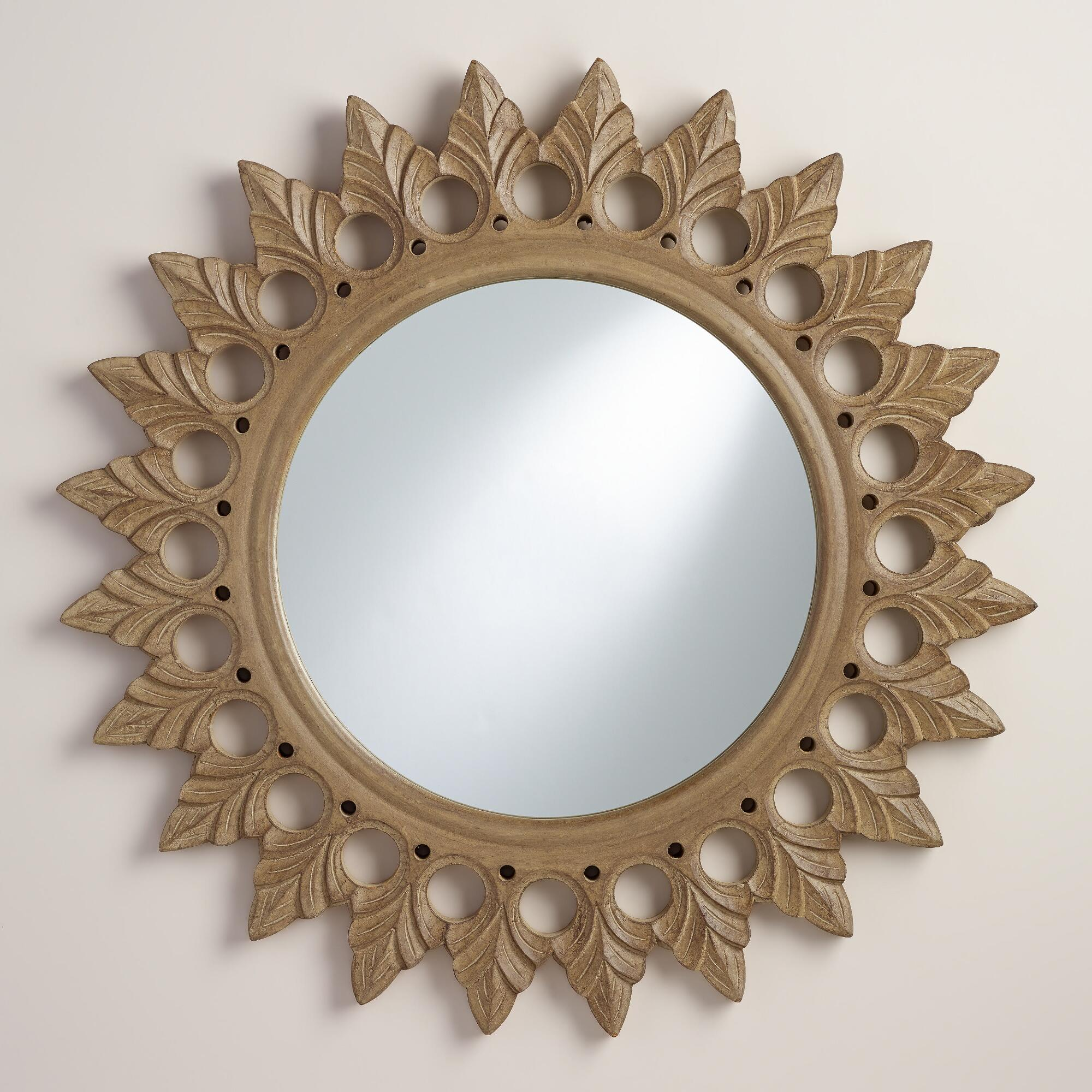 gray round starburst vani mirror WM
