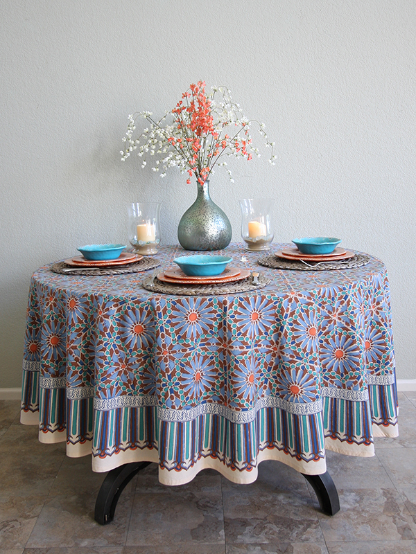 Moroccan tile inspired tablecloth, blue floral Moroccan home decor
