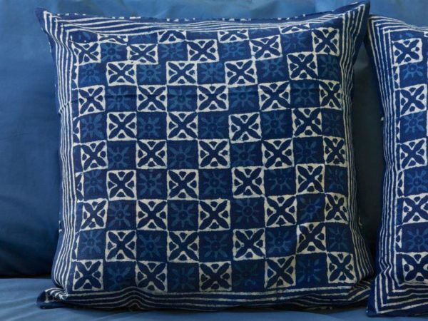 blue Moroccan style bedroom pillows