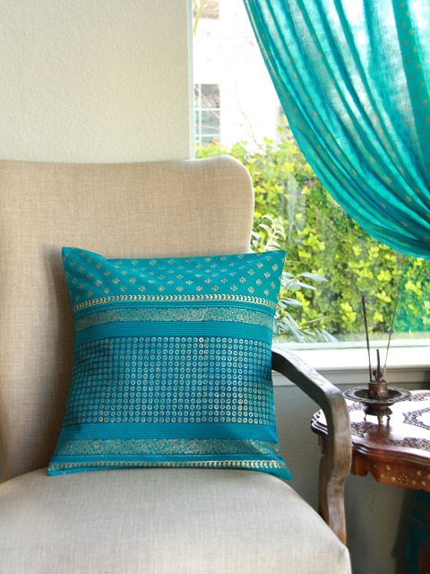 jp doi turquoise blue and gold colored cushion cp