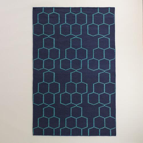blue honeycomb rug world market