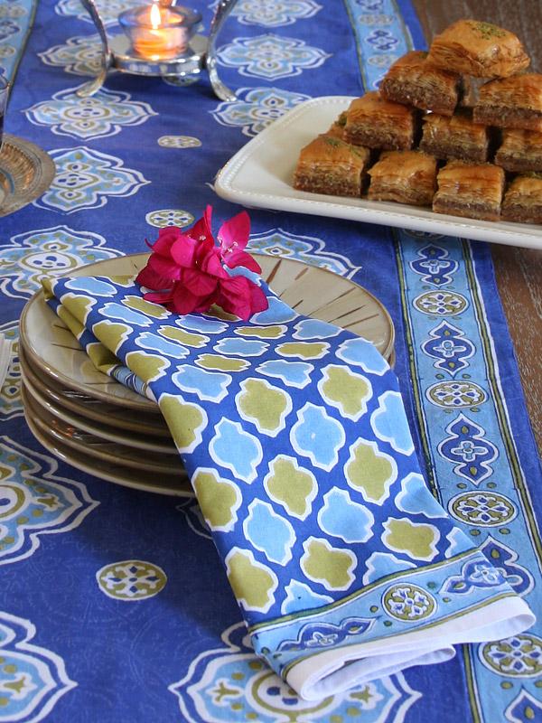 Casablanca Blues ~ Moroccan Theme Style Quatrefoil Print Napkins