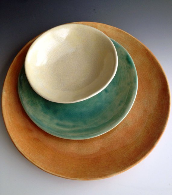 Handmade organic color combo crackle place setting