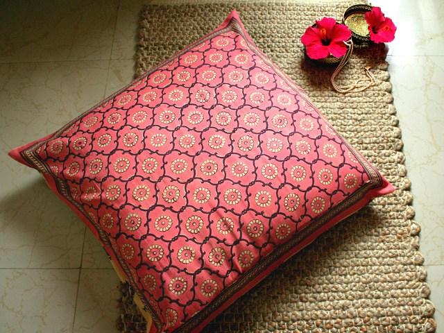 India Rose ~ Floral Pink India Sari Decorative Euro Pillow Sham