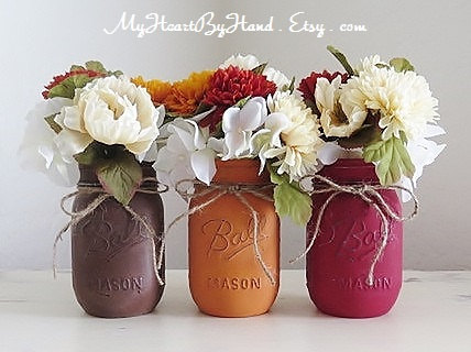 my heart by hand distressed mason jars