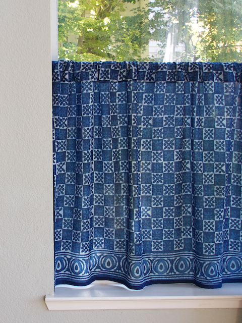 Indian Blue Batik Kitchen Cafe Curtain