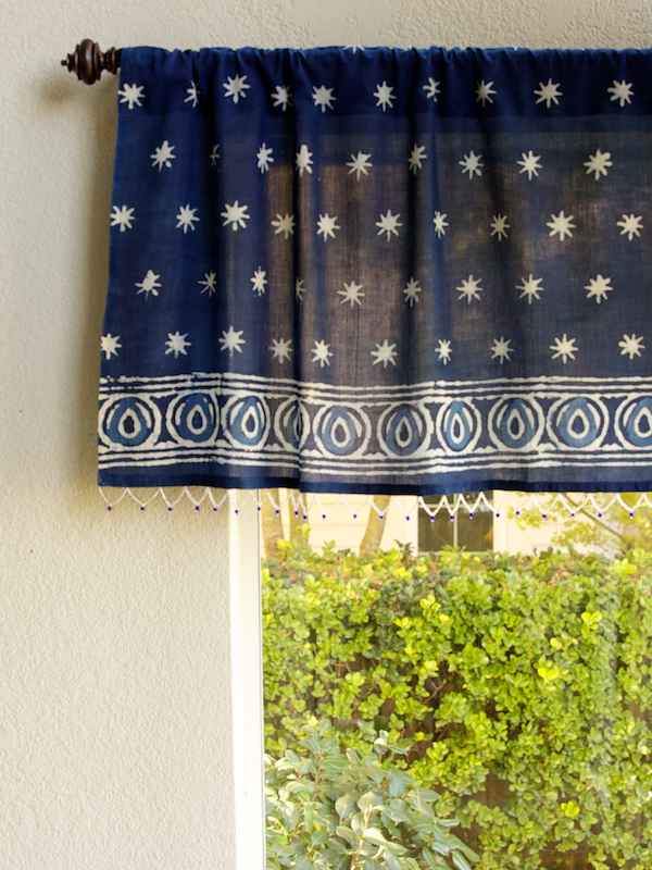 India Blue Batik Beaded Window Valance
