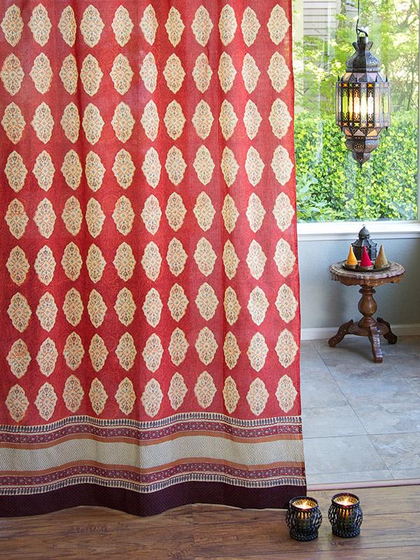 Red Orange Moroccan Indian Sheer Curtain Panel