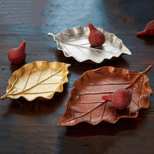 Shimmering Leaf Trays - Copper