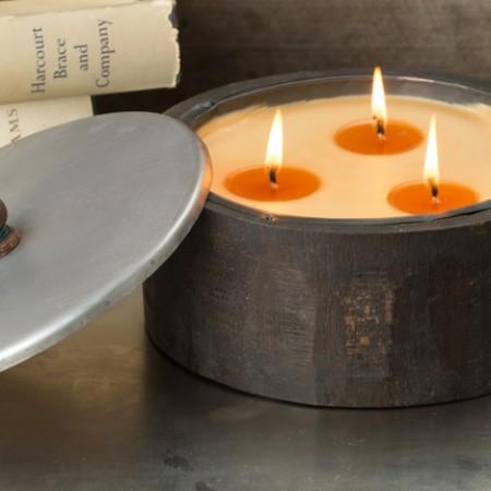 wooden barrel candleholders