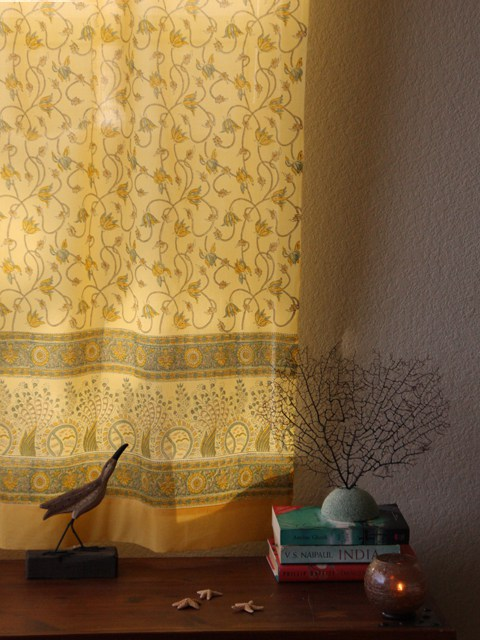 Floral Beach Yellow Curtain Panel