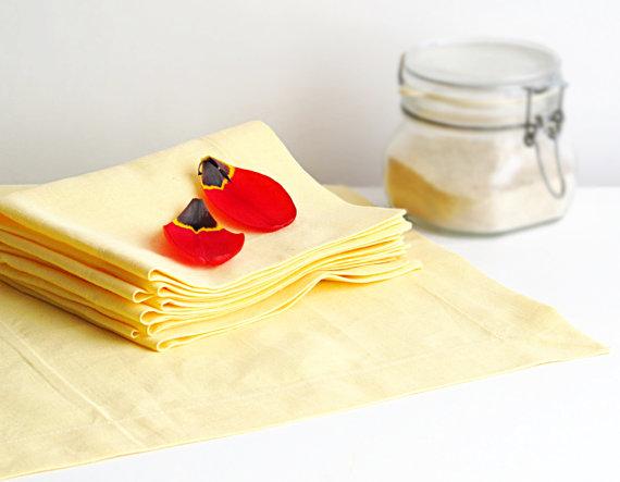 yellow linen napkins etsy