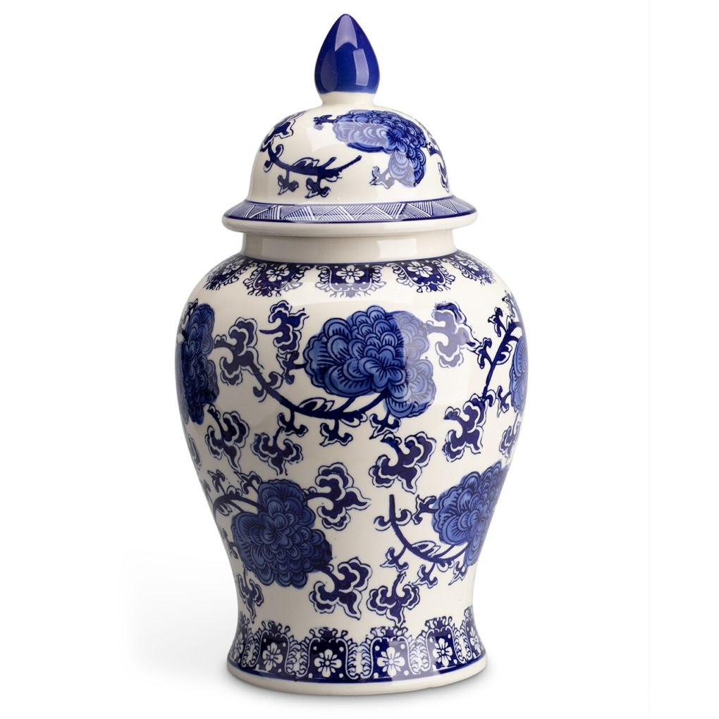 Monticello ginger jar with blue floral pattern