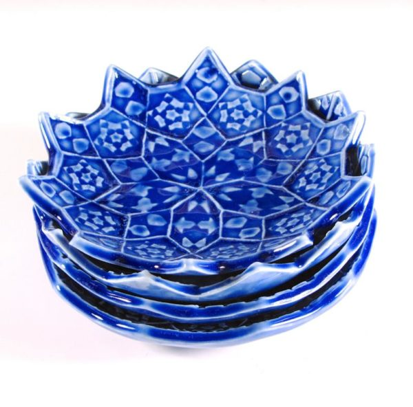 ceramics with a blue floral pattern