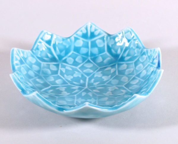 ceramic dish with blue floral pattern